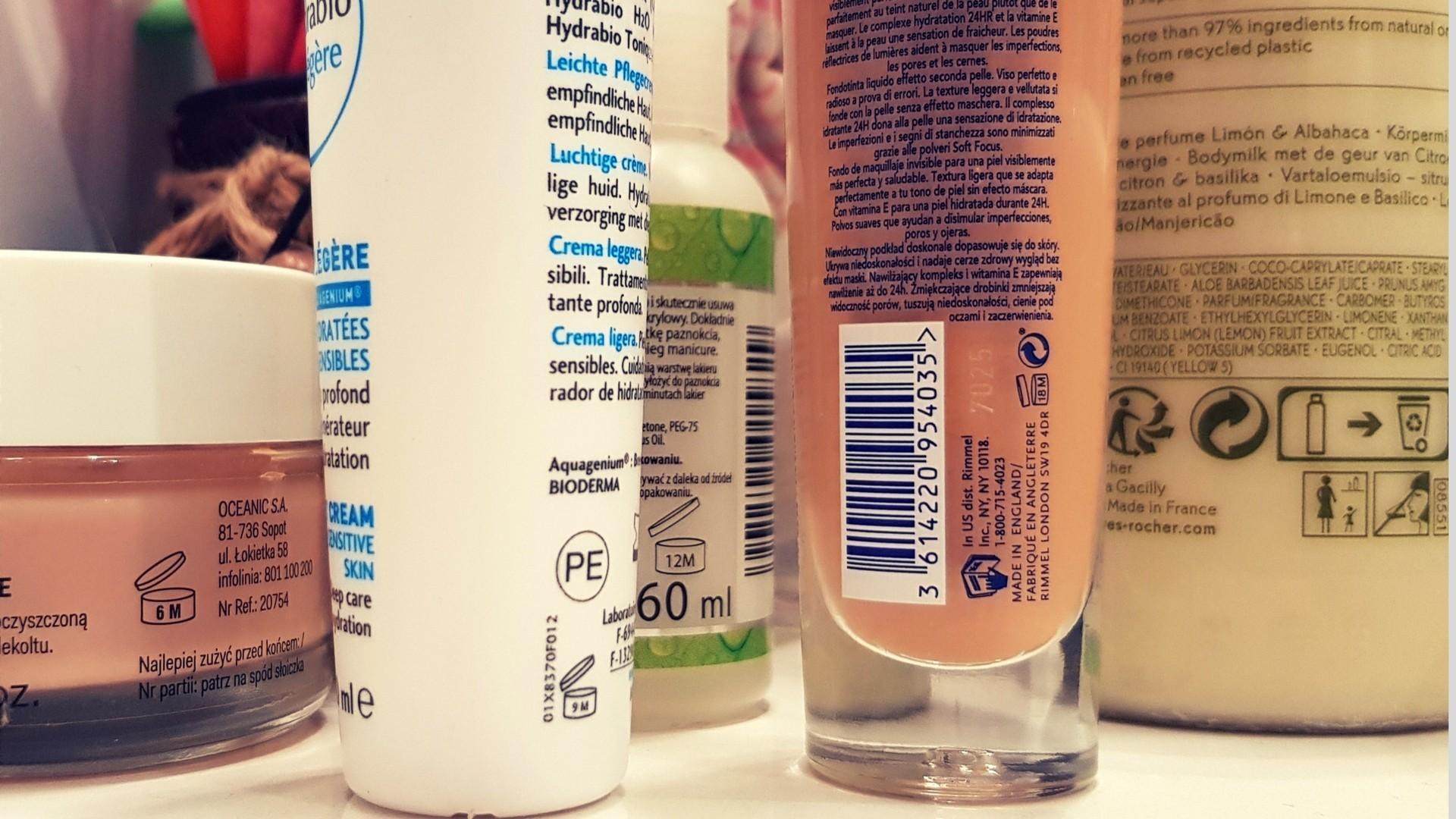 etykiety na kosmetykach