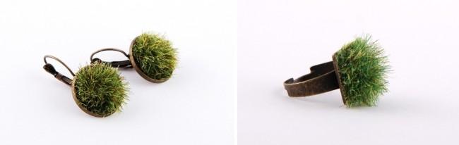 Pomysłowa biżuteria z trawą