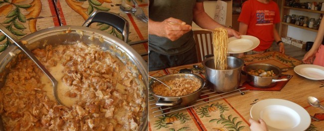 Sos z kurek - wspólny posiłek