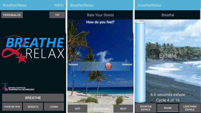 aplikacja na smartfona breathe2relax