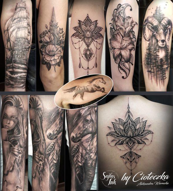 czarny tatuaż cioteczka