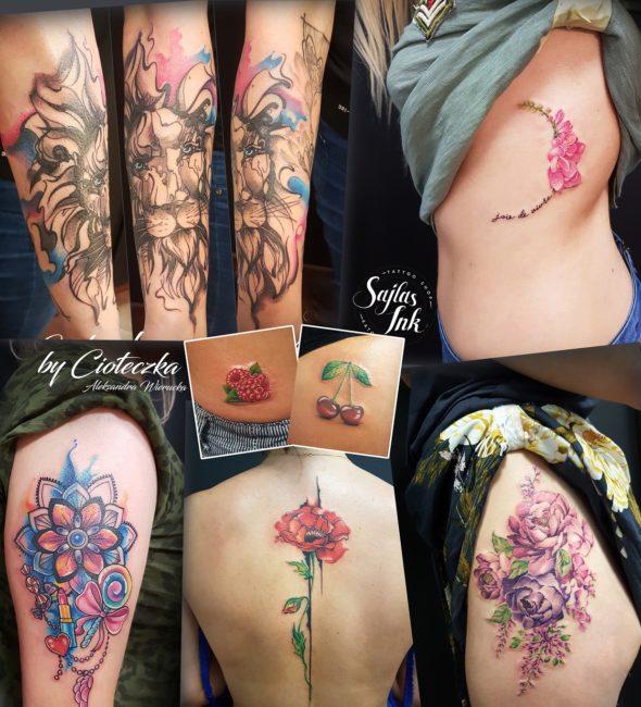 kolorowy tatuaż cioteczka