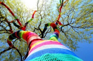 Yarn bombing - drzewo